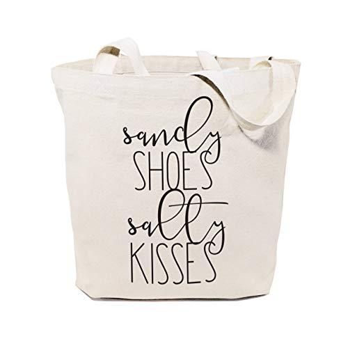 Sandy Chaussures et salée Kisses Toile de coton de plage Shopping et de voyage réutilisable Fourre-tout et sac à main cadeaux pour elle Farmers Market Mer