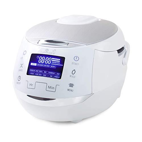 Yum Asia Sakura Reiskocher mit Keramikschale und Advanced Fuzzy Logic (8 Tassen, 1,5 Liter), 6 Reiskochfunktionen, 6 Multikocherfunktionen, Motouch LED-Display, 220-240V UK/EU (weiß und silber)