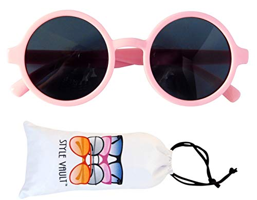 Kd3008 Baby Infant Toddlers 0~24 Month old Round Retro Sunglasses (Pink)