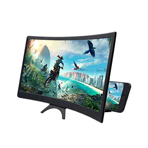 Mobile Screen Amplifier, FICHENG 12'' 3D Curve Screen Magnifier for Cell Phone, HD Amplifier Projector Magnifing Screen Enlarger for Movies, Videos, and Gaming with Foldable Stand Compatible with All