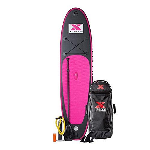 Surfboard Paddle–-sup Xterra -- aufblasbar, gekröpft in einem Rucksack, rosa