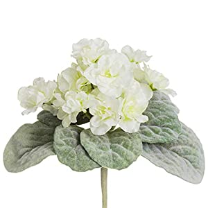 8″ African Violet Silk Flower Bush -Cream (Pack of 12)