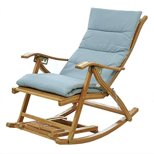 WXF Schaukelstuhl Loungesessel Erwachsene Aus Bambus Fauler Balkon Schaukel Nickerchenstuhl Alter Mann Freizeit Faltbar (Color : A-pad)