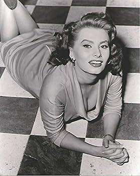 Young Sophia Loren in Sexy dress lying on the floor 8x10 inch Photo
