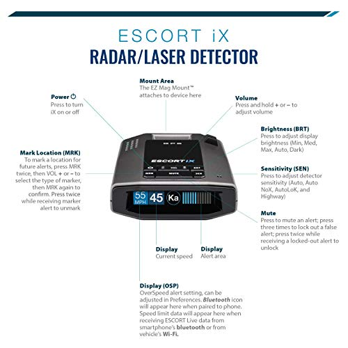 ESCORT IX Laser Radar Detector - Auto Learn Protection, Extreme Long Range, Bluetooth, Voice Alerts, OLED Display, Escort Live