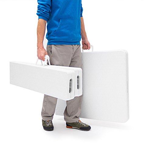 Relaxdays Bierzeltgarnitur klappbar Bastian, 3-teiliges Gartenmöbel Set, einfarbig, H x B x T: 73 x 180 x 75 cm, weiß - 5