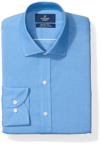 "Amazon Brand - Buttoned Down Men's Slim Fit Stretch Poplin Non-Iron Dress Shirt, French Blue, 17"" Neck 38"" Sleeve"
