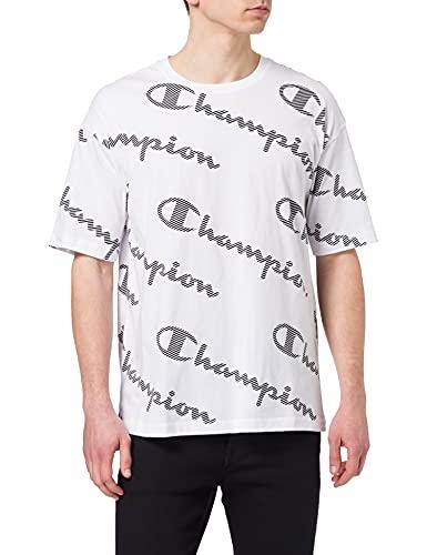 Champion Herren Seasonal AC Logo Allover Crewneck T-Shirt, weiß, XXL