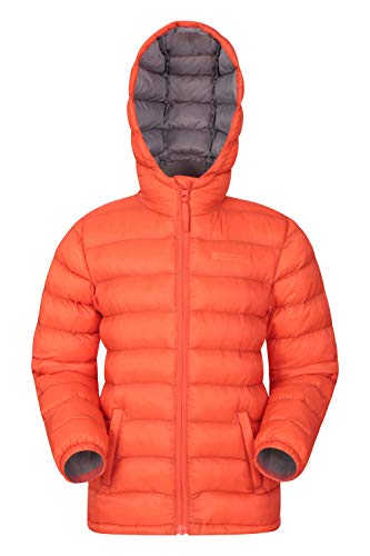 Mountain Warehouse Chaqueta Acolchada Seasons para Chicos - Chaqueta Impermeable - Ropa de niño Ligera - con puños elásticos y 2 Bolsillos Frontales - para Viajar Naranja 2-3 Años