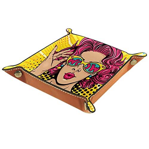 Bandeja de valet de cuero multiusos caja de almacenamiento Organizador de bandejas Se utiliza para almacenar pequeños accesorios,mujer caliente en gafas de sol y bikini