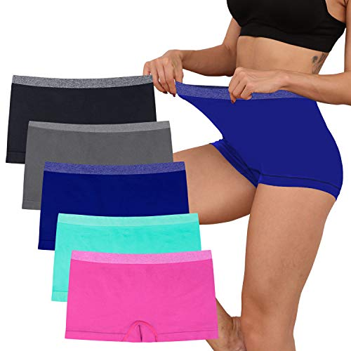Ruxia Women's Seamless Boyshort Panties Nylon Spandex Underwear Stretch Boxer Briefs Pack of 5 … (Multicolored-03-5pack, XX-Large)