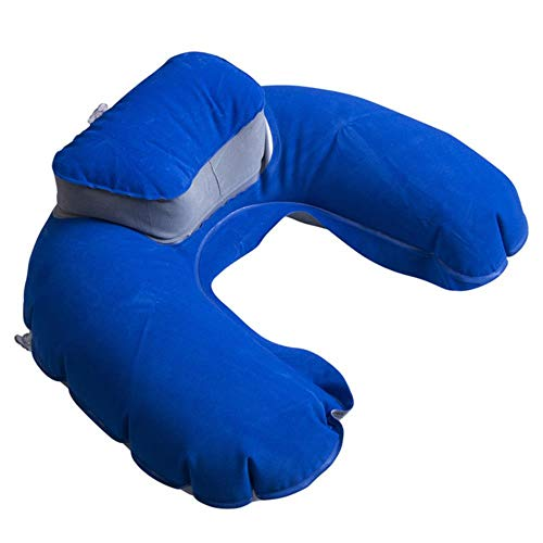 LAI - Almohada plegable en forma de U para el cuello, cojín inflable de espuma de memoria, almohada de viaje para el cuello y almohadas súper suaves, color azul