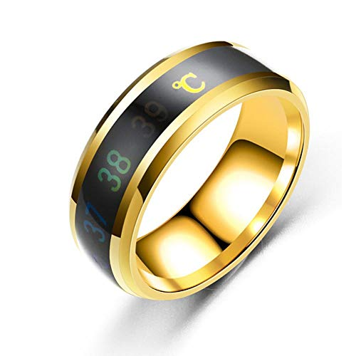Temperatuur Monitor Ringen, Paar Lovers Titanium Staal Wave Gift Ringen Intelligente Digitale Thermometer Body Temperatuur Sensor Smart Ringen Bruiloft (8mm)