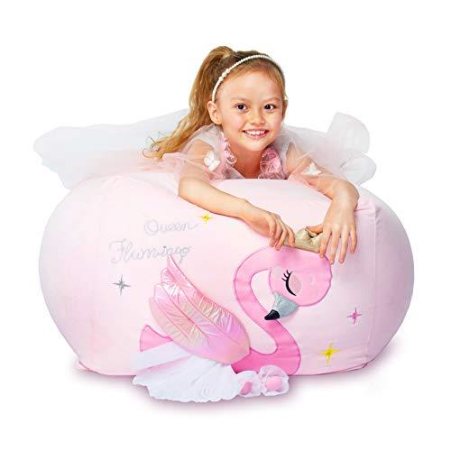 Funda para silla de peluche con diseño de flamenco, tamaño grande, 60 x 60 cm, terciopelo extra suave, para regalo de niñas, funda rosa
