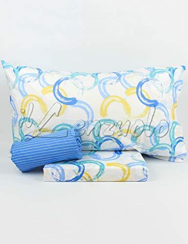 Lenzuola matrimoniali completo Bassetti Dream FEBE in cotone variante Azzurro