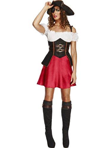SMIFFYS Smiffy's 43482M - Febbre Wench del Pirata Costume con Il Vestito Nero Attached Sottogonna Hat e Bootcovers, M