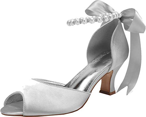 Señoras de moda perla tacón grueso Peep Toe vestido de boda fiesta...