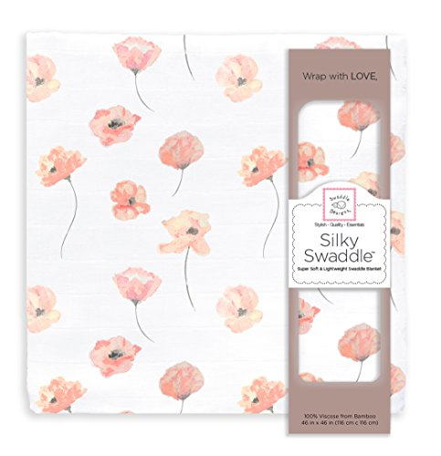 Best Price SwaddleDesigns Silky Swaddle, Watercolor Floral, Poppies, Bamboo Viscose, Coral Blush, Pink