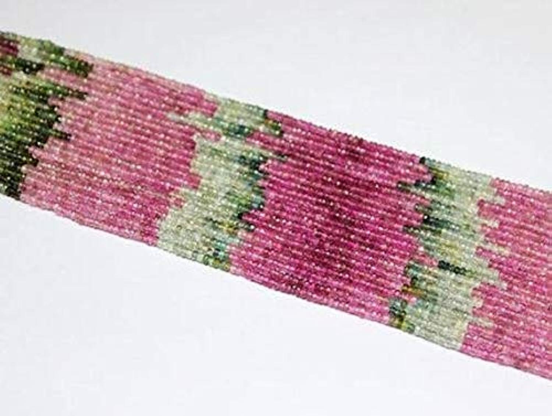 precios bajos GEMS-WORLD GEMS-WORLD GEMS-WORLD BEADS GEMSTONE Watermelon Tourmaline Multi Faceted Gemstone Micro Rondelle Loose Craft Beads Strand 14  3mm  la red entera más baja