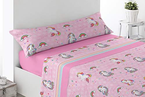 Juego de sábanas Infantiles de Microfibra Transpirable Mod. Unicornios Pink (Cama de 105 cm (105_x_190/200 cm))