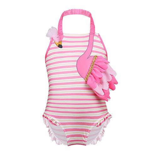 dPois Baby Mädchen Flamingo Badeanzug Neckholder Tankini Bikini Kleinkind Gestreift Schwimmanzug Babykleidung Säugling Beachwear 62 68 80 86 92 98 Rosa 68-80/6-12 Monate