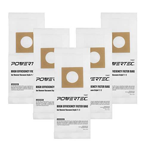 POWERTEC 75057 Hoover Vacuum Replacement Bags Type Y/Z | 2 Ply Allergen Vacuum Filter Bag – 10 Pack