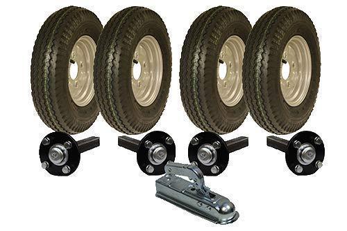 Parnells Alta Velocidad Doble Eje Remolque Kit 4.80/4.00-8 Road Legal Wheels Hub & Mangueta & Enganche