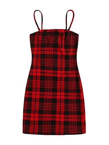 Floerns Women's Plaid Print Mini Cami Bodycon Dress A red Plaid L