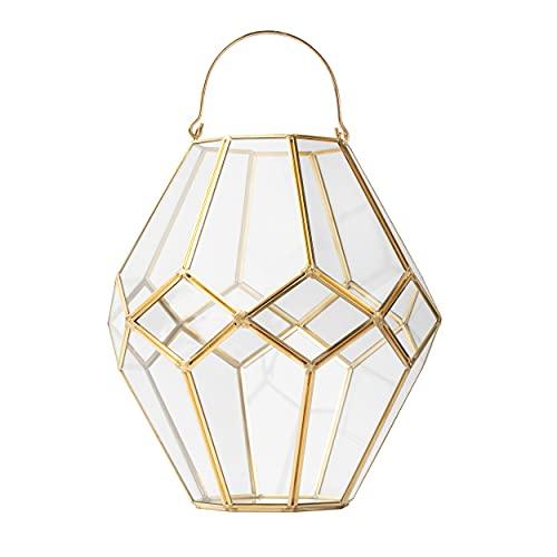 Volldra® Windlicht Gold extra Dickes Hitzeresistentes Glas 27 cm große Laterne Deko für Wohnung Terrasse Garten oder als Vase für Trockenblumen Pampasgras