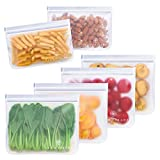 GLAMFIELDS Reusable Sandwich Bags - 6pack reusable food storage bags - Glamfields BPA Free Leak-proof Snacks Bags for kids Adult Lunch | Freezer | Fruit | Travel