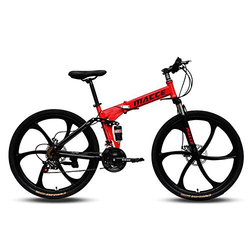 KAMELUN Mountain Trail Bike, 26 inch Wheels, Adult Mountain Bike High Carbon Steel Folding Outroad Bicycles, 27-Speed Bicycle Full Suspension MTB Gears Dual Disc Brakes Mountain Bicycle,Red