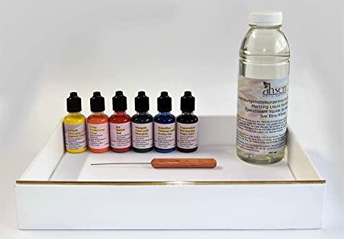 Marble - Juego de pinturas marmoladas (6 x 30 ml), color morado, amarillo, rojo, azul, verde y negro, para mármol, madera, vidrio, plástico, papel, metal y poliestireno
