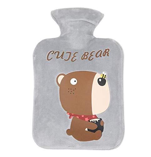 Uteruik Botella de agua caliente clásica de goma con patrones de oso suave funda de forro polar – 500 ml, 1 juego