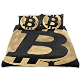 Zozun Juego de Funda nórdica Moon Bitcoin Sign Figura Humana Juego de Cama Decorativo de 3 Piezas con 2 Fundas de Almohada