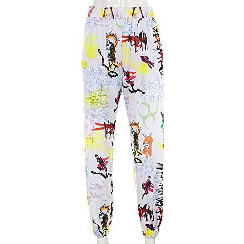 U/A Harajuku Graffiti Cargo Pants Mujer Pantalones Holgados Mujer Pantalones de chándal Pantalones elásticos de Cintura Alta Mujer
