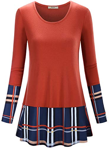 Miusey Crew Neck Shirts for Women, Tunic Tops for Legging A Line Swing Hem Buffalo Plaid Bright Colored Ladylike Warm Good Fit Relaxed Style Fashionable Adorable Orange Blue L