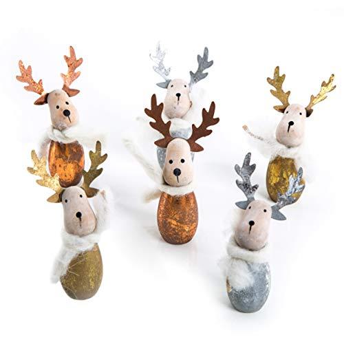 Logbuch-Verlag 6 kleine Elche Holzfiguren Gold Silber Bronze Weihnachtsdeko festlich Weihnachten Geschenkidee Tischdeko Mitgebsel Hirsch Rentier