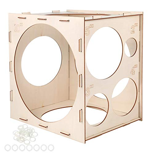 Aoibrloy 9 Holes Wood Balloon Sizer Measuring Box Cube Tool for Creating Balloon Arches, Balloon Decoration and Balloon Column Stand