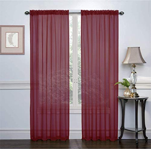 """Empire Home Addison Sheer Voile Window Curtain Solid Panels - Set of 2 (Maroon, 95"""" Long)"""