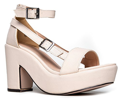 Chunky Platform Strappy Sandal - Ankle Strap Block Heel - Flatform Casual Shoe Remy by J. Adams,Nude,8 B(M) US