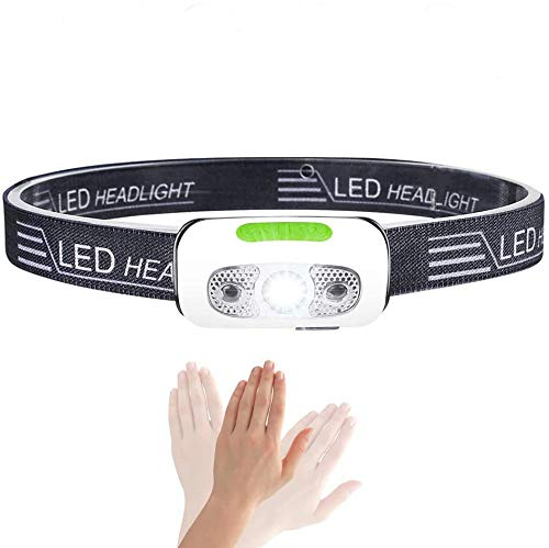 Rechargeable Running Headlamp, Ultralight Comfortable Super Bright Headlamp for Running, IPX7 Waterproof Headlight 5 Light Modes for Hiking Camping Dog Walking