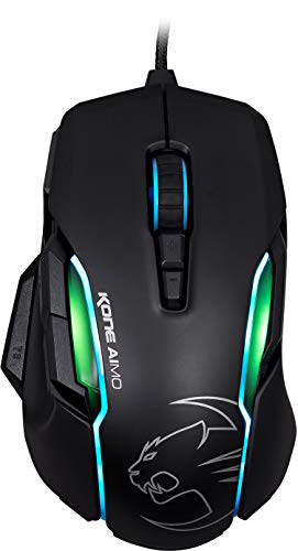 Roccat Kone AIMO Gaming Maus (hohe Präzision, optischer Owl-Eye Sensor (100 bis 12.000 DPI), RGB AIMO LED Beleuchtung, 23 programmierbare Tasten, designt in Deutschland, USB) schwarz