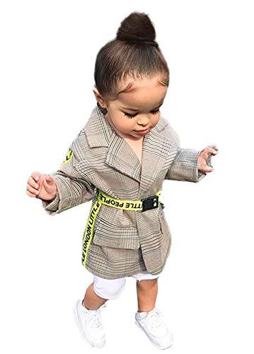 Carolilly Baby Mädchen Jacke Mantel Trenchcoat Revers Prinzessin Windbreaker mit Gürtel Kinderjacken Parka Winter Kleidung (Beige, 130)