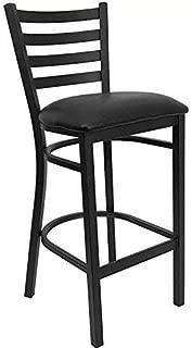 Black Ladder Back Metal Restaurant Bar Stool - Black Vinyl Seat [XU-DG697BLAD-BAR-BLKV-GG]