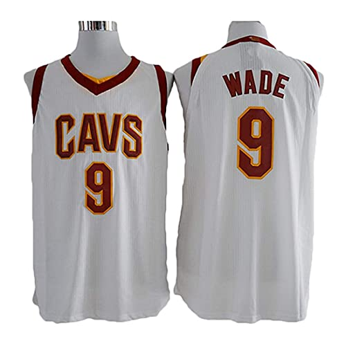XSJY Jersey De Baloncesto para Hombres - NBA Cleveland Cavaliers # 9 Dwyane Wade Jersey, Fitness Sports Moisture Wicking Basking Shirt,A,XXL:185~190cm/95~110kg