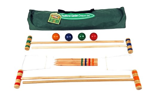 Traditional Garden Games 75cm Croquet Set In Canvas Tasche