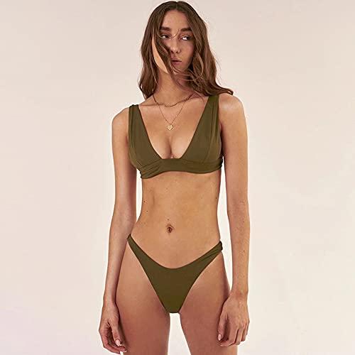 RIQWOUQT Bikini Mujer Traje De Baño Brasileño para Mujer Verde Militar con Cuello En V Sexy Bikini Push-Up De Color Sólido Ropa De Playa De Dos Piezas Regalo del Día De La Madre Junto Al Mar, S