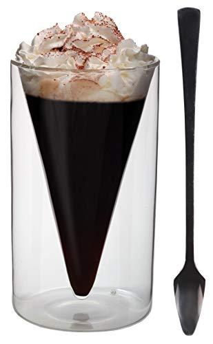 Spikey 200ml dubbelwandige puntvorm - thermoglas met puntige lepel roestvrij staal 18/10, met zweefeffect, ideaal voor desserts, ijs, jam, thee, koffie, cappuchino, sap, Feelino