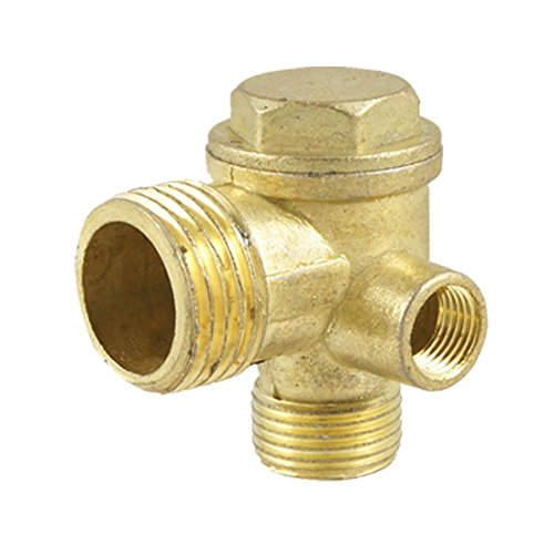 Check Valve 3-Port Brass Male Threaded Air Compressor Check Valve Central Pneumatic Air Compressor Accessories Air Compressor Replacement Parts (Female Thread)
