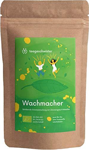 BIO Wachmacher | grüner Tee Sencha Mate-Tee und Matcha-Pulver | Morgen Tee als Kaffeeersatz zum wach werden | teegeschwister | 100g